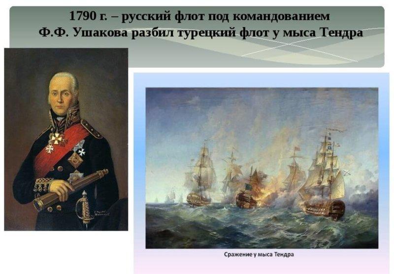 9 сентября 1790 года Русский флот адмирала Ф. Ушакова разбил турецкую эскадру при острове Тендра