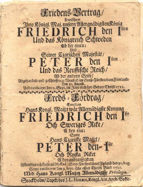 Подписан Ништадтский мирный договор между Швецией и Россией, завершение Северной войны 1700-1721 годы.