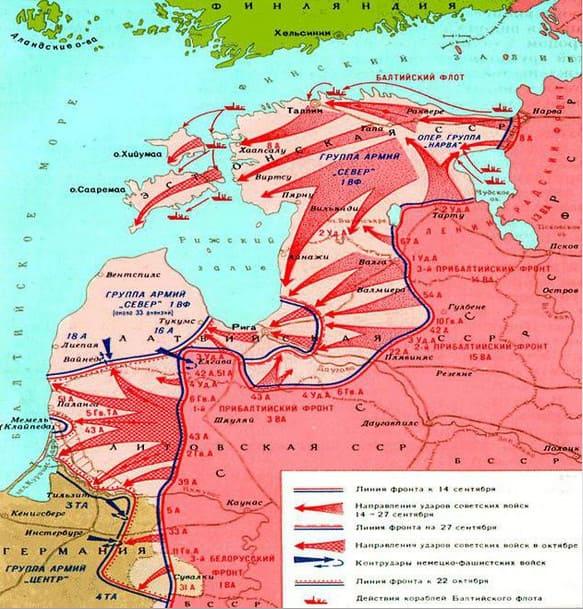 10 октября 1944 года Войска 1-го Прибалтийского фронта (генерал армии И.Х. Баграмян) вышли к побережью Балтийского моря южнее г